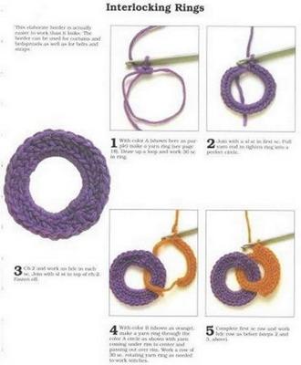 вязаный шарф-цепочка, схема 1