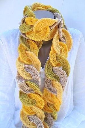 Модный вязаный шарф - цепочка