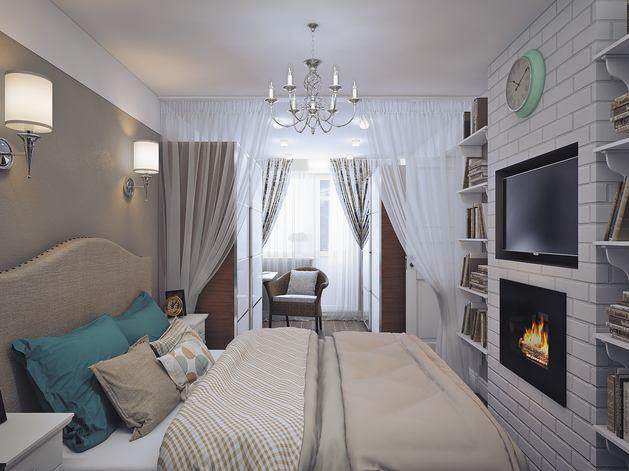 Кровать изголовьем к длинной стене в узкой спальне